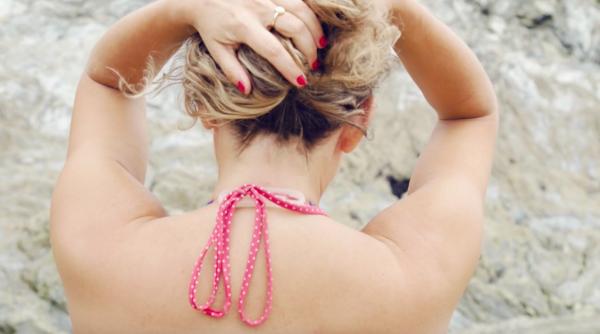 Transparent halto on bikini